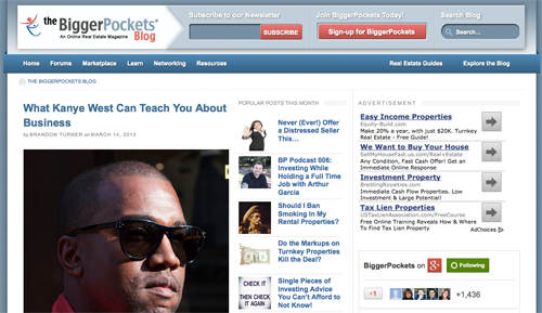 Screenshot of biggerpockets.com blog.