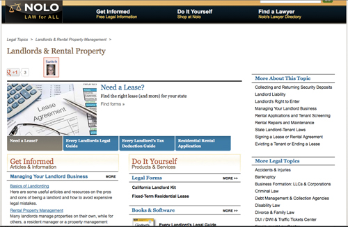 Screenshot of NOLO Landlord & Rental Property page.