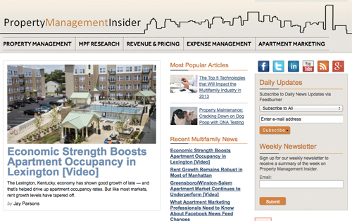 Screenshot of Property Management Insider homepage.