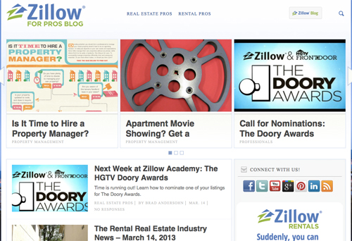 Screenshot of Zillow for Pros Blog.